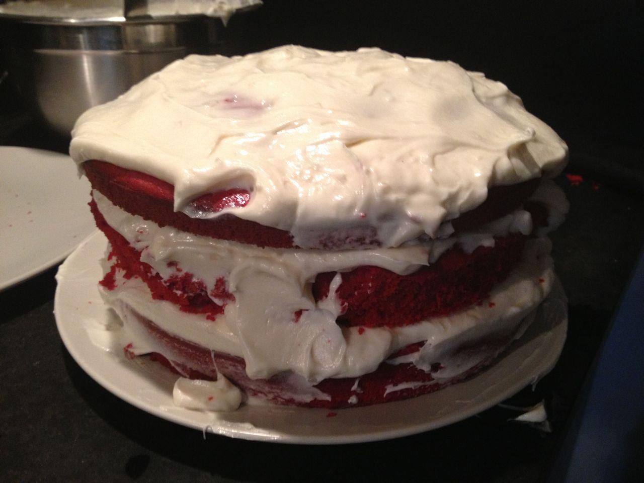 Great Grandmas Fire Engine Red Cake