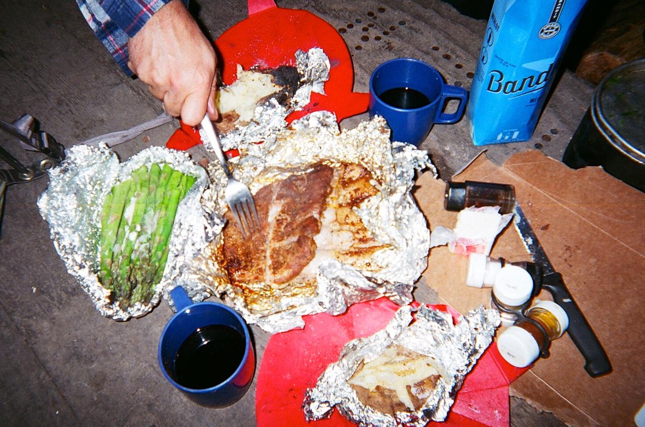 Caveman Ribs, asparagus and baked potatoes