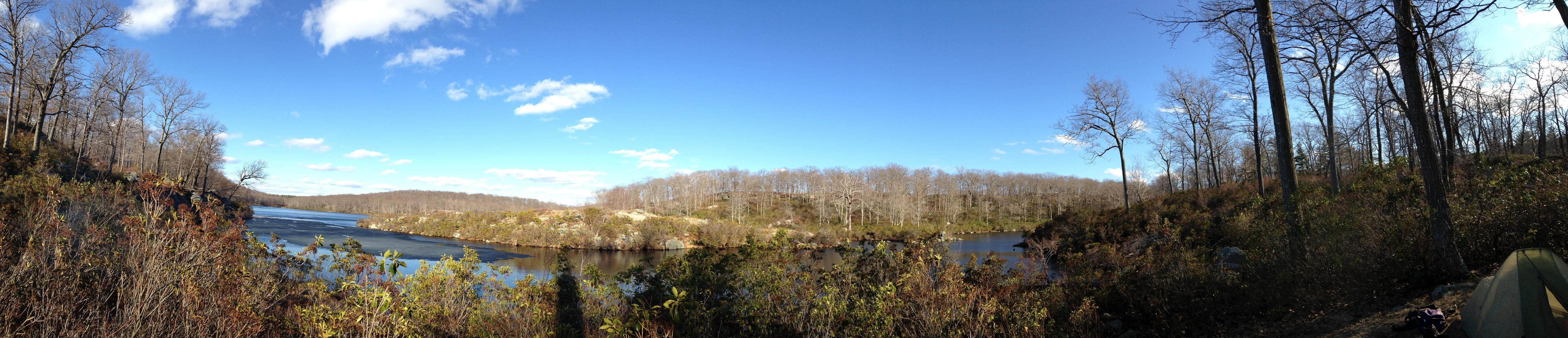 Lake Skenonto and tent panorama