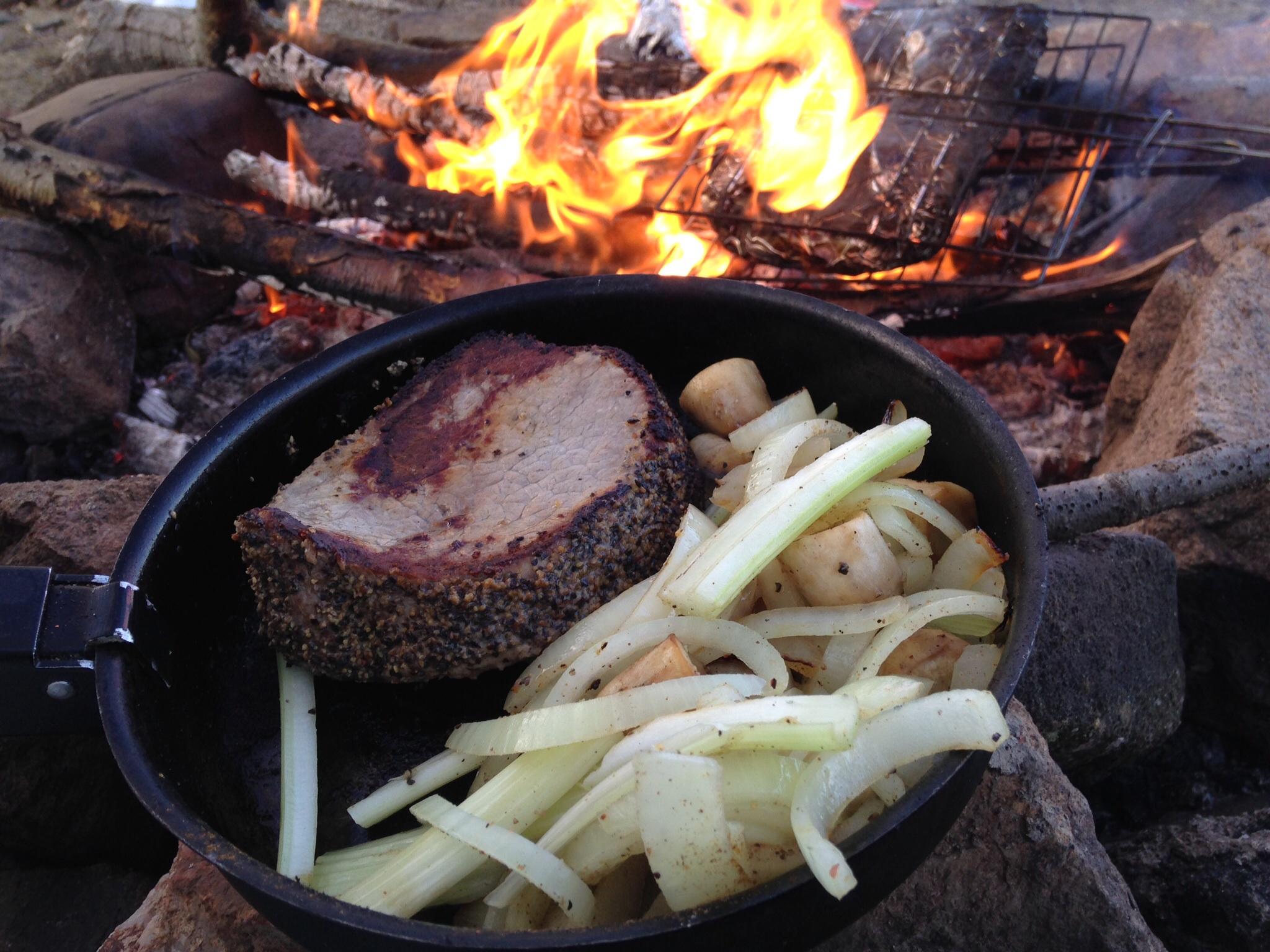 Steak, onions and mushroom stems