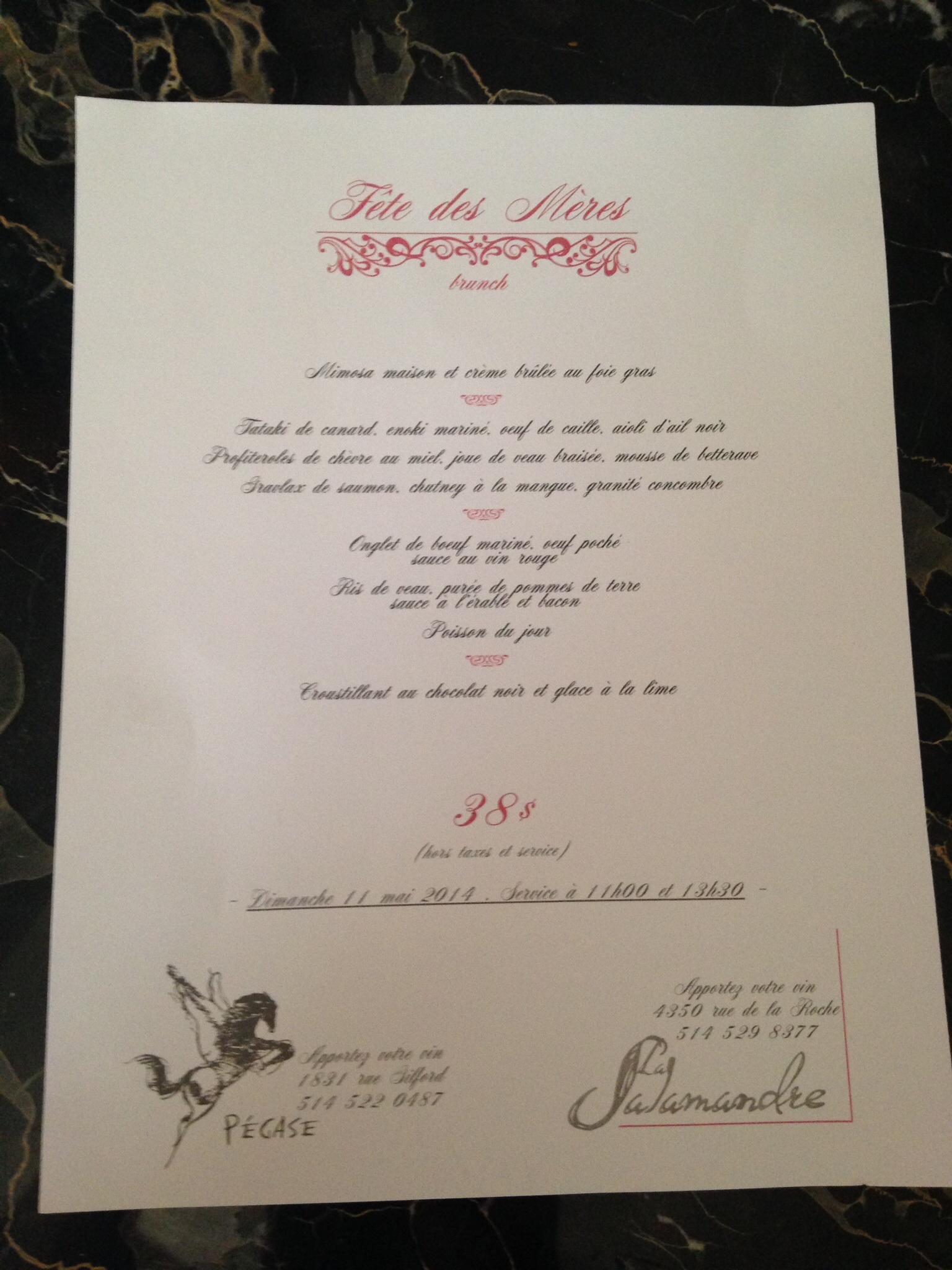 Mother's Day menu at Le Pegase