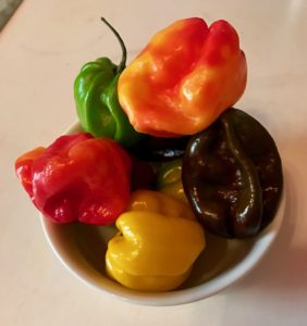 A rainbow of Scotch Bonnets